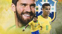 Brasil - Neymar, Philippe Coutinho, Alisson Becker (Bola.com/Adreanus Titus)