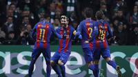 Selebrasi Striker Barcelona Lionel Messi saat mencetak gol ke gawang Glasgow Celtic (Reuters / Lee Smith )