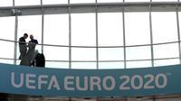 Suasana di Convention Centre, Dublin, jelang undian kualifikasi Euro 2020. (AP/Brian Lawless)