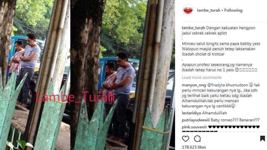 Bebi Romeo salat di trotoar [foto: instagram]