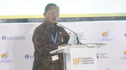 Menko Perekonomian Darmin Nasution memberi sambutan dalam Indonesia Investmen Forum (IIF) 2018 di ajang Pertemuan Tahunan IMF-World Bank 2018 di Bali, Selasa (9/10). (Liputan6.com/Angga Yuniar)