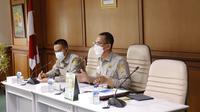 Direktur Jenderal Prasarana dan Sarana Pertanian (PSP) Kementerian Pertanian, Ali Jamil saat memimpin rapat rapat koordinasi lintas Eselon 1 Kementan.