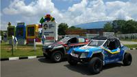 Mobil listrik Blits mengalami kecelakaan sebelum memasuki Kota Medan. (Liputan6.com/Reza Efendi)