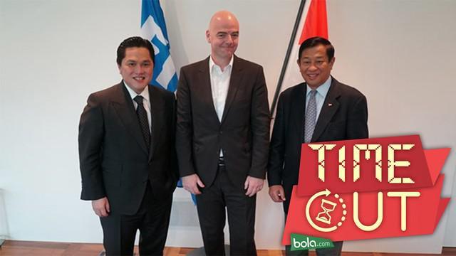 Rombongan Tim Ad-Hoc PSSI dan Komite Olimpiade Indonesia (KOI) disambut hangat oleh Presiden FIFA, Gianno Infantino di Kantor FIFA, Zurich, Swiss. Delegasi Indonesia itu diwakili oleh Agum Gumelar dan juga Erick Thohir.
