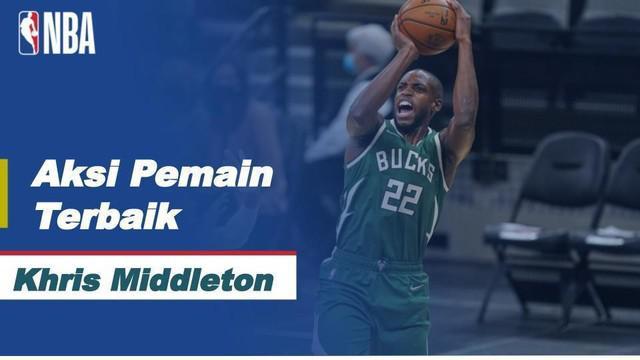 Berita video bintang Milwaukee Bucks, Khris Middleton, menjadi pemain terbaik pada gim keempat Final NBA 2021 yang digelar Kamis (15/7/2021) pagi hari WIB.