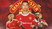 Manchester United - Jadon Sancho, Cristiano Ronaldo, Bruno Fernandes (Bola.com/Adreanus Titus)