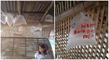 Tak Mampu Beli Balon, Bocah Ini Pakai Plastik untuk Rayakan Ulang Tahun Ayah