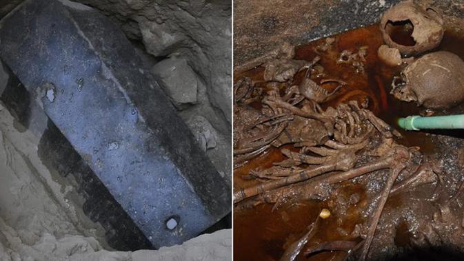Sarkofagus granit hitam berusia 2.000 tahun ini ditemukan di Alexandria, Mesir. Di dalamnya, para arkeolog menemukan campuran kotoran dan kerangka. (Foto: Kementerian Barang Antik dan Benda Kuno Mesir)
