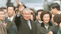 Mantan Presiden Korsel, Roh Tae-woo, bersama Ibu Negara Kim Ok-sook. Dok: Yonhap via AP File