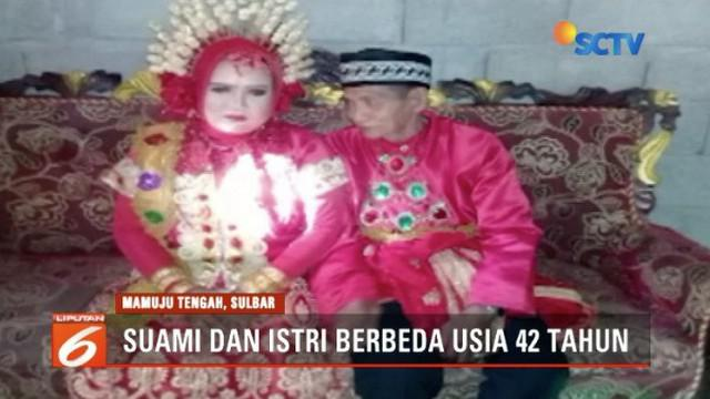 Pernikahan kakek dan gadis di Mamuju Tengah, Sulawesi Barat, viral karena perbedaan usia 42 tahun.