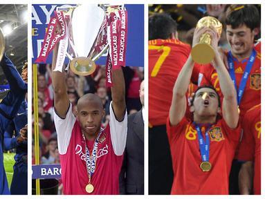 Foto kolase sejumlah pemain yang terpilih dalam 6 pemain elit yang kantongi gelar Liga Champions, Liga Inggris, dan Piala Dunia menurut The Sun. (Foto: AFP)
