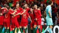 Pemain Portugal merayakan gol ke gawang Belanda. Cristiano Ronaldo dkk. sukses jadi juara UEFA Nations League setelah menang tipis 1-0 pada Senin (10/6/2019) dini hari WIB. (AP)