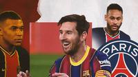 Lionel Messi, Neymar dan Kylian Mbappe. (Bola.com/Dody Iryawan)