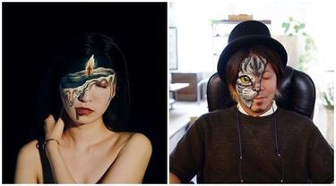 Gabungkan Body Painting dan Makeup, 7 Ilustrasi Ilusi Optik Ini Curi Perhatian