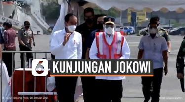 Presiden Joko Widodo mengunjungi posko darurat evakuasi Pesawat Sriwijaya Air SJ182. Rombongan Presiden tiba di lokasi Rabu (20/1) siang.