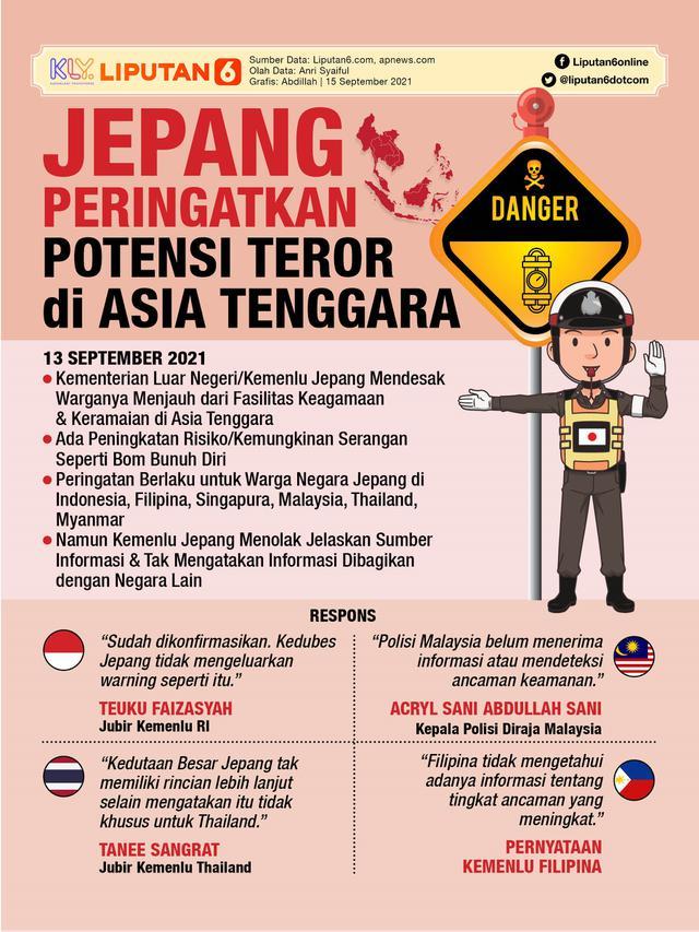 Infografis Jepang Peringatkan Potensi Teror di Asia Tenggara. (Liputan6.com/Abdillah)