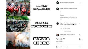 Berbagai hal bisa dijadikan Meme menarik, tidak terkecuali yang berkaitan dengan otomotif. (Instagram @hujat_otomotif)