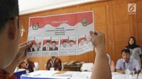Anggota KPPS melakukan proses penghitungan suara Pilkada Jawa Barat 2018 di TPS 06 Nagrak, Gunung Putri, Bogor, Rabu (27/6). TPS tersebut menjadi tempat keluarga besar SBY menunaikan haknya pada Pilgub Jabar 2018. (Liputan6.com/Herman Zakharia)