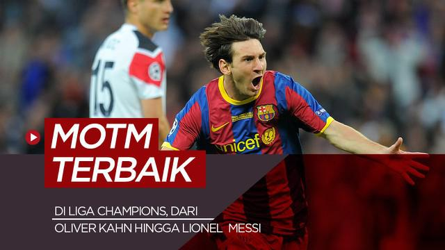 Berita motion grafis 5 man of the match terbaik di final Liga Champions, mulai Oliver Kahn hingga Lionel Messi.