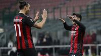 Penyerang AC Milan, Zlatan Ibrahimovic dan Brahim Diaz. (AP Photo/Antonio Calanni)