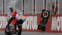 Pembalap Ducati Corse, Jorge Lorenzo beraksi pada balapan MotoGP Austin 2018. (JUAN MABROMATA / AFP)