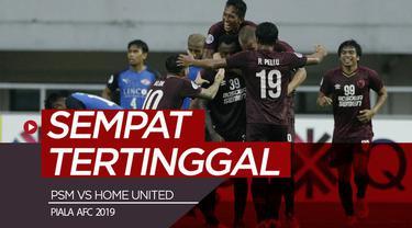Berita video highlights Piala AFC 2019 antara PSM Makassar melawan Home United dengan skor 3-2 di Stadion Pakansari, Bogor, Selasa (30/4/2019).