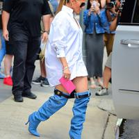 Jennifer LOpez in Versace Denim Boots - Photo
