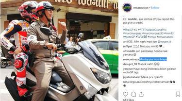 Dibonceng polisi, Marc marquez naik Yamaha NMax (foto: Instagram @nmaxnation)