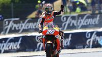 Pebalap Repsol Honda, Dani Pedrosa, antusias sambut MotoGP Jerman karena punya sejarah bagus balapan di Sirkuit Sachsenring. (EPA/Alejandro Garcia)