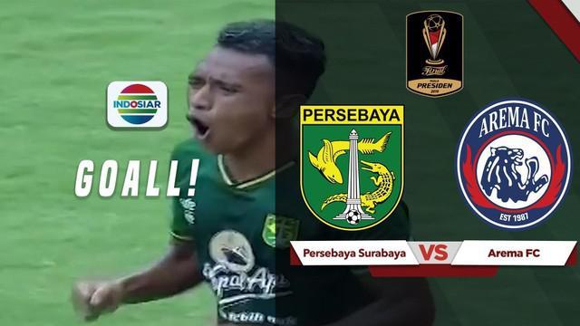 Berita video highlights gol pertama Persebaya Surabaya dari Irfan Jaya saat menghadapi Arema FC di leg pertama Piala Presiden 2019 di Gelora Bung Tomo, Selasa (9/4/2019).