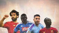 Ilustrasi - Mohamed Salah, Kalidou Koulibaly, Riyad Mahrez, Sadio Mane (Bola.com/Adreanus Titus)