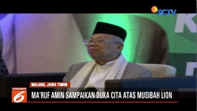 Ma'ruf Amin ungkapkan bela sungkawa atas jatuhnya Lion Air JT 610. Ma'ruf berharap jasa penerbangan tingkatkan sistem pengawasan maskapai.