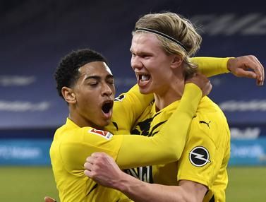 FOTO: Erling Haaland Cetak Brace, Dortmund Lumat Schalke 4-0 - Erling Haaland; Jude Bellingham