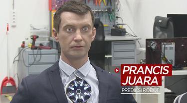 Berita video robot mirip manusia buatan perusahaan di Rusia memprediksi Timnas Prancis akan menjuarai Euro 2020.