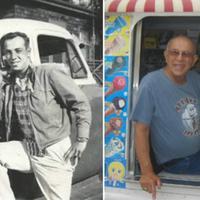 Allan Ganz (kiri) berpose dengan truk es krim pertamanya dan setelah menerima rekor dunia (kanan). (Guinness World Records/Istimewa)