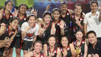 Merah Putih Samator merebut peringkat ketiga pada Srikandi Cup seri pertama di Makassar, Sabtu (2/12/2017). (Bola.com/Andhika Putra)