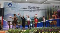 Foto Pertunjukan Festival Tunas Bahasa Ibu di Kantor Badan Bahasa, Jakarta, 21 Februari 2018.