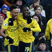 Striker Arsenal Pierre-Emerick Aubameyang, Nicolas Pepe dan Alexandre Lacazette (DAN ISTITENE / GETTY IMAGES EUROPE / GETTY IMAGES/AFP)