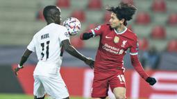 3-6. Takumi Minamino. Gelandang asal Jepang ini telah mencetak 11 gol dalam penampilannya bersama Salzburg pada musim 2014/2015 hingga 2019/2020 dan Liverpool 2019/2020 dan 2020/2021. Pada musim dingin 2020/21 ini ia dipinjamkan oleh Liverpool ke Southampton. (AFP/Henning Bagger/Ritzau Scanpix)