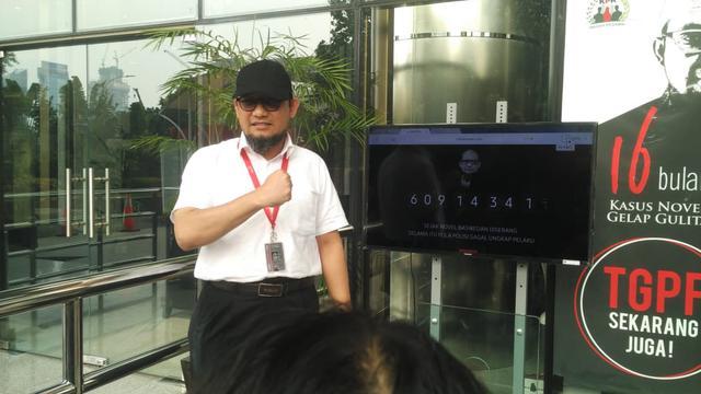 Wadah Pegawai (WP) Komisi Pemberantasan Korupsi (KPK) meluncurkan jam hitung kasus penyiraman air keras terhadap penyidik Novel Baswedan (Liputan6.com/Lizsa)