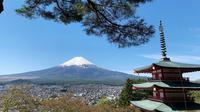 Gunung Fuji terlihat dari kuil Arakura Fuji Sengen di kota Fujiyoshida, prefektur Yamanashi, pada Kamis (22/4/2021). Prefektur Yamanashi terletak di sebelah barat Tokyo yang memiliki spot-spot wisata terkenal, salah satunya gunung tertinggi di Jepang, Gunung Fuji. (Behrouz MEHRI / AFP)