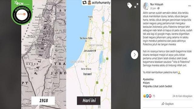 Gambar Tangkapan Layar Foto Peta Wilayah Palestina