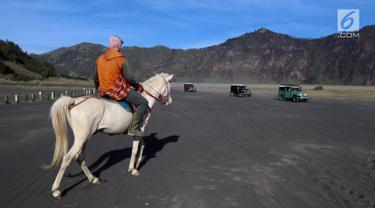 Joki kuda sedang menunggu wisatawan yang melintas menggunakan mobil jeep di Taman Nasional Bromo Tengger Semeru, Jawa Timur, Sabtu (4/11). Harga sewa kuda berkisar Rp 100 - 150 ribu. (Liputan6.com/Fery Pradolo)