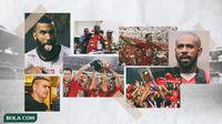 Kolase - Persipura Juara ISL, Persija juara Liga 1, Cristian Gonzales, Boaz Solossa, Sylvano Comvalius (Bola.com/Adreanus Titus)