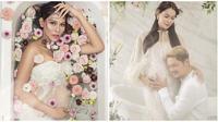 Bunga Jelitha lakukan pemotretan maternity shoot di bak penuh bunga. (Sumber: Instagram/@bungajelitha66)
