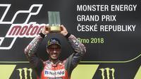 Pembalap Ducati, Andrea Dovizioso, menyebut akselerasi menjadi kunci kemenangan yang diraihnya di MotoGP Ceska yang berlangsung di Sirkuit Brno, Minggu (5/8/2018). (AFP/Michal Cizek)