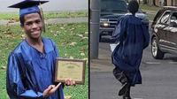 (Foto: Lad Bible) Corey Patrick (19) tahun menjadi viral karena menggunakan baju toga dan naik bus untuk keacara kelulusannya.