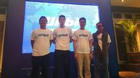 Peluncuran bursa aset kripto terbesar Korea Selatan Upbit ke Indonesia oleh CEO Upbit Apac Alex Kim (kedua kiri) dan jajarannya (Liputan6.com/ Agustin Setyo W).