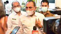Gubernur Sumut, Edy Rahmayadi, memberikan keterangan kepada media