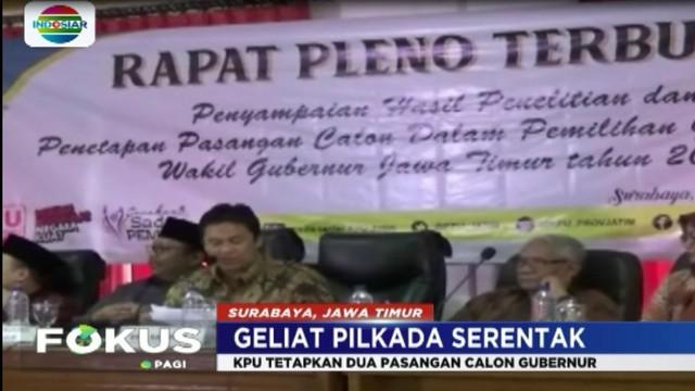 KPU Provinsi Jawa Timur, akhirnya menetapkan dua pasangan calon gubernur dan wakil gubernur Jawa Timur.